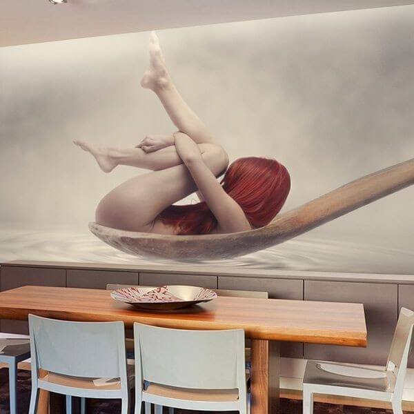 Wall Mural Spoon with Woman