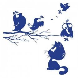 Sticker Cat and Birds