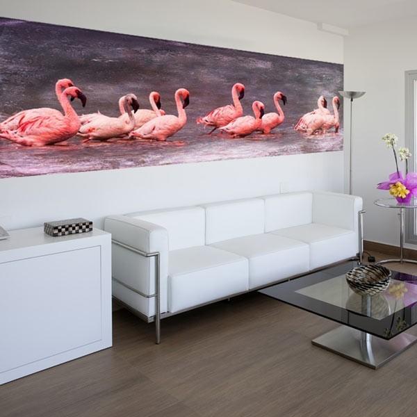 Wall mural pink flamingos