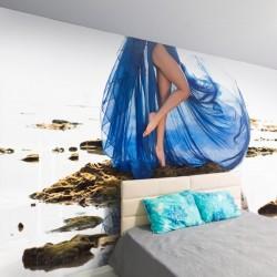Wall mural woman in blue dress