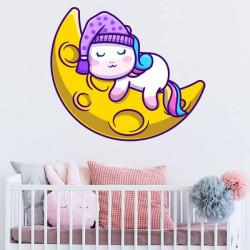 Sticker unicorn on the moon