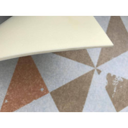 Pastel colored geometric vinyl rug